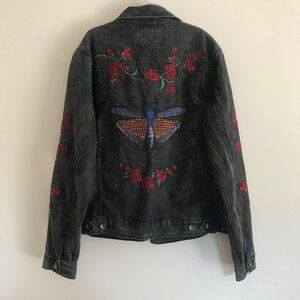 BDG Butterfly Rose Embroidered Denim Jacket M